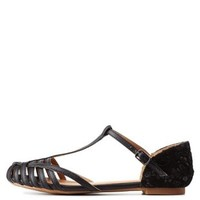 Black Strappy Glitter-Lined Lace T-Strap Flats by Charlotte Russe
