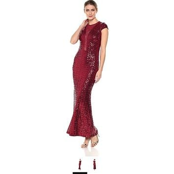 Marina Mesh Inset Sequin Cap Sleeve Gown at Nordstrom Rack - Womens Cocktail