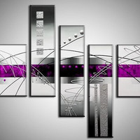 handpainted 5 piece black white purple modern abstract oil paintings on canvas wall art pictures for living room home decoration