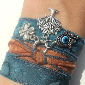 Tree of Life Silk Wrap Hamsa Bracelet Yoga Mother Earth Jewelry Evil Eye Anklet Necklace Earthy Unique Gift Under 50 Item D30