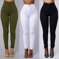 High waist Slim large size women's jeans green