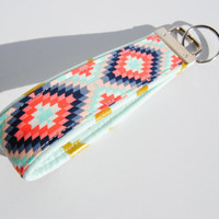 AZTEC KEY CHAIN, mint and coral key fob, navy key chain, metallic gold key strap, diamond print wrist strap