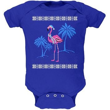 Flamingo Winter Ugly Christmas Sweater Soft Baby One Piece