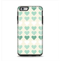 The Scratched Vintage Green Hearts Apple iPhone 6 Plus Otterbox Symmetry Case Skin Set