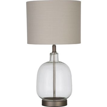 """Better Homes and Gardens Clear Glass Lamp Artisan Glass Table Lamp, Easy On/Off Switch, 22"""" Height (55.9cm) Clear Glass Finish - Walmart.com"""
