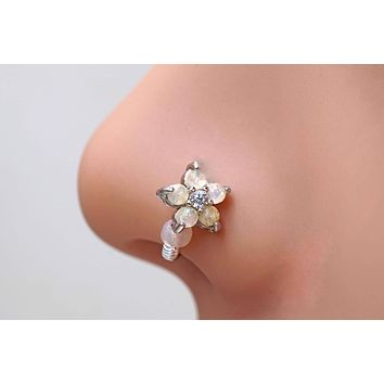 White Opal Flower Silver Nose Hoop Nose Ring 20G Nose Ring
