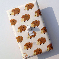 Hedgehog Light Switch Plate Cover / Woodland Baby Nursery Decor / Children Kids Room / Japanese Import Fabric