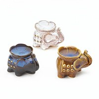 Elephant Oil Warmer Trio with 3 Tea Lights and Choice of Oil