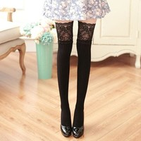Lace Lolita Thigh High Patchwork Over Knee Cotton Stockings Knee High Japanese Stockings Calcetines Mujer Largos#A11