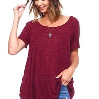 Burgundy Heather Short Sleeve High Low Flowy Tunic