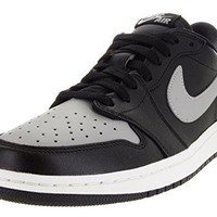 Jordan 1 Retro Low OG Men Round Toe Leather Black Basketball Shoe