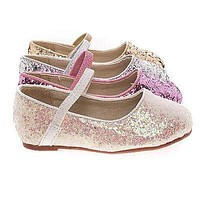 RidleyRG Toddler Girl Round Toe Ballet Flat Elastic Mary-Jane & Rock Glitter