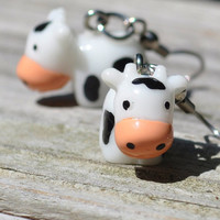Adorable black and white cow earrings by MeredithsLittleShop