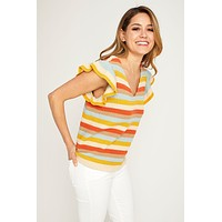 THML Stripe Knit Ruffle Sleeve Top