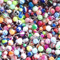 Belly Button Ring Lot 100 Assorted Belly Rings Surgical Steel 14 Gauge Banana Piercing (100 Pieces)