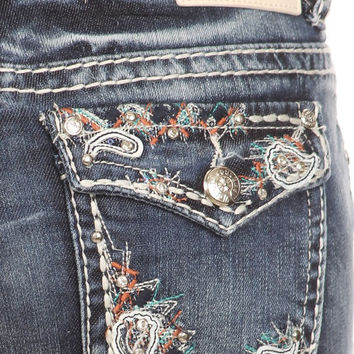 Denim Couture Womens Boot Cut Mid Rise Jeans Young Adults