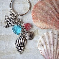 Charm keychain Sealife keyring Mermaid Keychains Ocean Diving Gifts Diver Accessories Beach Accessory summer Silver Keychain Charms seaside beach party favors Sea lover gift coastal gift