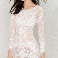 Call Out Lace Dress - White