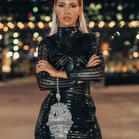 Shanda Glam Mini Sexy Black dress