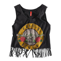 Guns N' Roses Print Fringed Hem Tank Top