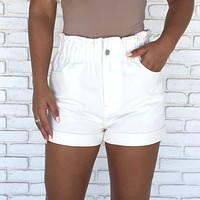 Cinched High Waist Denim Shorts In White