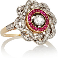 Fred Leighton - Edwardian gold, diamond and ruby ring