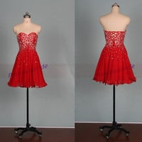 Short red chiffon homecoming dress with sequins,2015 chic cheap prom dress under 150,cute sweetheart women gowns for holiday party.