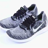 NIKE FREE RN FLY KNIT Men's and women's sports running shoes Grey