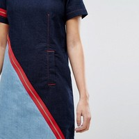 House of Holland X Lee Denim Shift Dress with Contrast Zip and Exposed Shoulder at asos.com