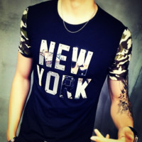 Summer 2017 Men's Short Sleeve T-Shirt Fitness Cotton Camouflage Sleeve T Shirt Men Letter NEW YORK Patchwork T-Shirts Size 5XL [10312512771]