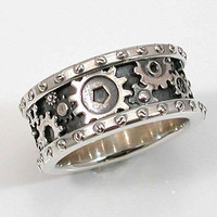 Mens Silver Ring  Gears and Rivets  by SwankMetalsmithing on Etsy