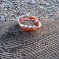 Hemp Bracelet Orange and White