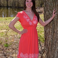 Angie Apparel Short-Sleeve Coral Dress with V-Neck and Embroidered Designs