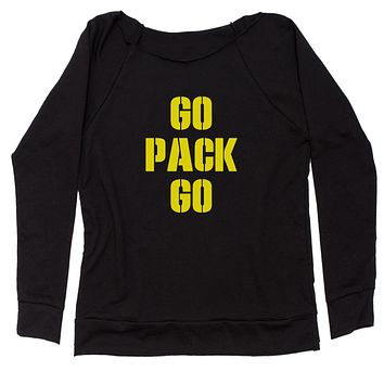Go Pack Go Green Bay Slouchy Off Shoulder Oversized Sweatshirt