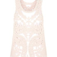 **Pearl Embellished Lace Top by Jovonna - Pink
