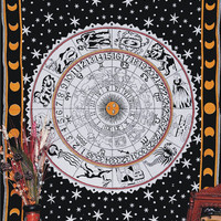 ASTROLOGY Horoscope Tapestry, Zodiac Hippie Hippy Wall Hanging, Indian Tapestry, Cotton Bohemian Bed Decor Bed Spread, Picnic Blanket