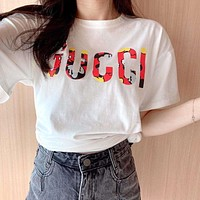 GUCCI x DISNEY 2020 Early Spring New Full Print Large Letter Round Neck Loose Half Sleeve T-Shirt