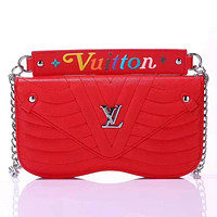 LV 2019 new wave pattern chain female models iphone8plus leather case phone case red