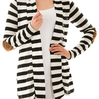 Elbow Patch Striped Cardigan Sweater Black