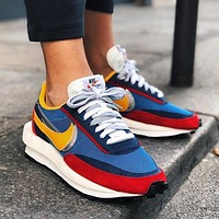 Sacai X Nike LVD WAFFLE joint deconstruction hit color running shoes Blue red
