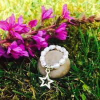 Fresh Water Pearl Elasticated Ring with Sterling Silver Star Charm