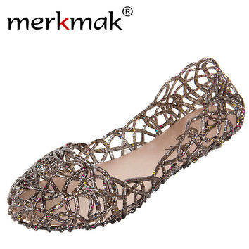 Cheap Price 2017 Summer New Shallow Leisure Women Sandals Soft Crystal Cut out Flat Heel Shoes Female Jelly Shoes drop Shipping