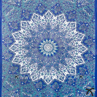 Hand crafted in India using traditional methods. Material: 100% Cotton Makes a great wall hanging, tablecloth, beach cover up, Dorm, couch cover or window curtain other Home Décor purposes Measures approximately 60 by 90 inch Intricate Design
