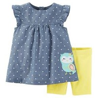 Just One You™Made by Carter's® Baby Girls' 2pc Owl Biker Short Set - Chambray/Yellow : Target