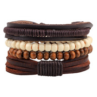 ER Vintage Male Handmade Leather Bracelet Bangle Boho Wood Bead Friendship Braslet Man Wrist Band Pulseira Masculina Couro LB139