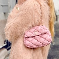 Peach Shaggy Faux Fur Scoop Neck Long Sleeve Hairy Jacket Coat