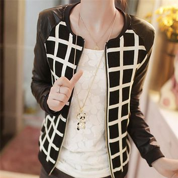 Jacket Ladies Casual Slim Plaid Faux Pu Leather Jackets Coats Casacos Femininos Tops Overcoat