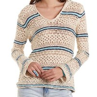 Striped Open Knit Hooded Sweater by Charlotte Russe
