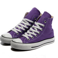 """""""Converse"""" Fashion Canvas Flats Sneakers Sport Shoes Hight tops Purple"""