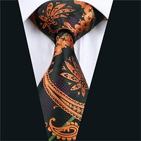 Men Silk Tie Orange Paisley Neck Tie Silk Jacquard Ties For Men Business Wedding Party